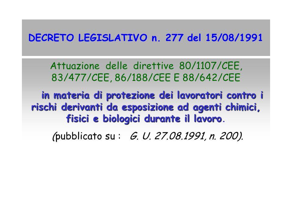 DECRETO LEGISLATIVO n. 277 del 15/08/1991 Attuazione delle direttive 80/1107/CEE, 83/477/CEE, 86/188/CEE E 88/642/CEE in materia di protezione dei lav