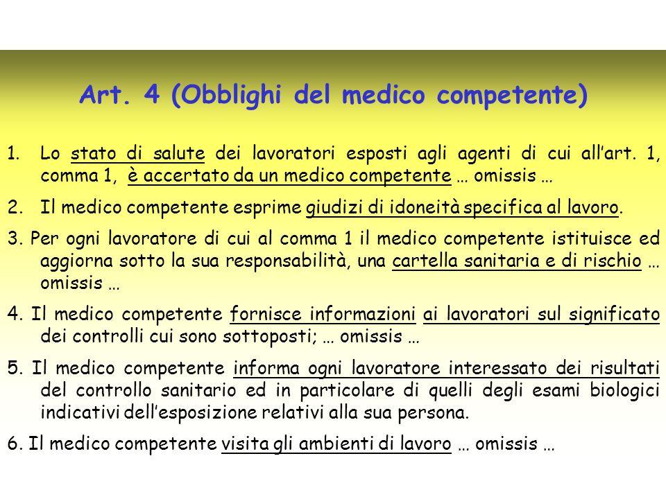 Art. 4 (Obblighi del medico competente) 1.Lo stato di salute dei lavoratori esposti agli agenti di cui allart. 1, comma 1, è accertato da un medico co