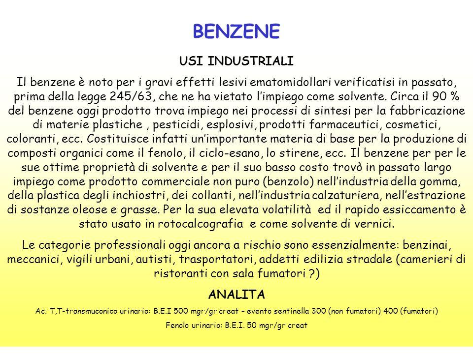 BENZENE USI INDUSTRIALI Il benzene è noto per i gravi effetti lesivi ematomidollari verificatisi in passato, prima della legge 245/63, che ne ha vieta