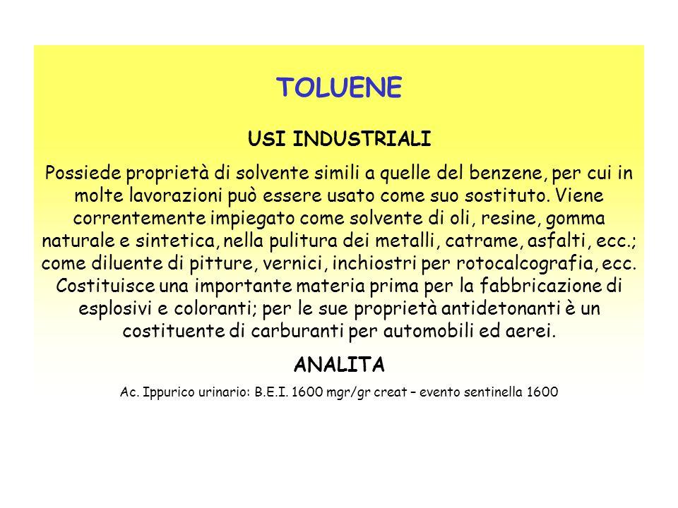 TOLUENE USI INDUSTRIALI Possiede proprietà di solvente simili a quelle del benzene, per cui in molte lavorazioni può essere usato come suo sostituto.