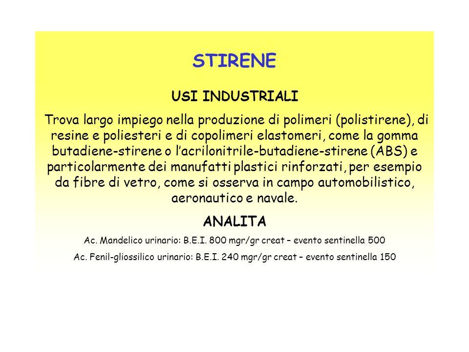 STIRENE USI INDUSTRIALI Trova largo impiego nella produzione di polimeri (polistirene), di resine e poliesteri e di copolimeri elastomeri, come la gom