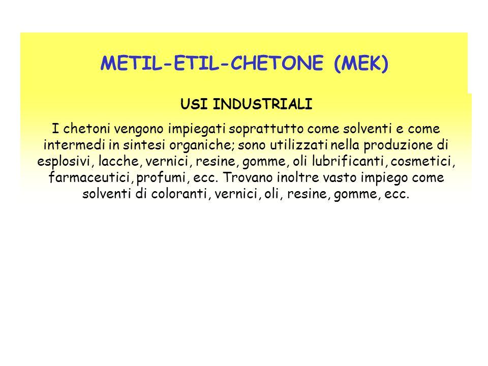 METIL-ETIL-CHETONE (MEK) USI INDUSTRIALI I chetoni vengono impiegati soprattutto come solventi e come intermedi in sintesi organiche; sono utilizzati