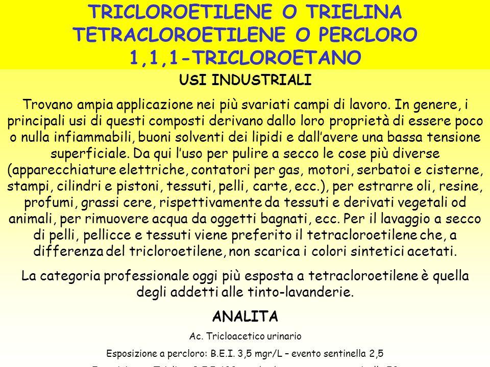 TRICLOROETILENE O TRIELINA TETRACLOROETILENE O PERCLORO 1,1,1-TRICLOROETANO USI INDUSTRIALI Trovano ampia applicazione nei più svariati campi di lavor