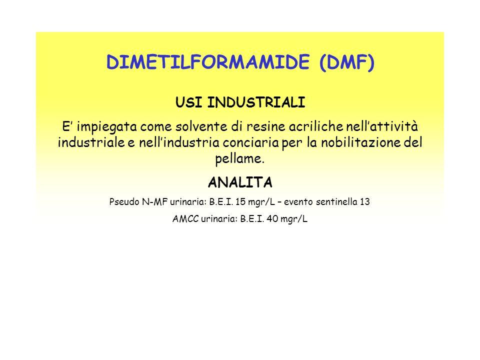 DIMETILFORMAMIDE (DMF) USI INDUSTRIALI E impiegata come solvente di resine acriliche nellattività industriale e nellindustria conciaria per la nobilit