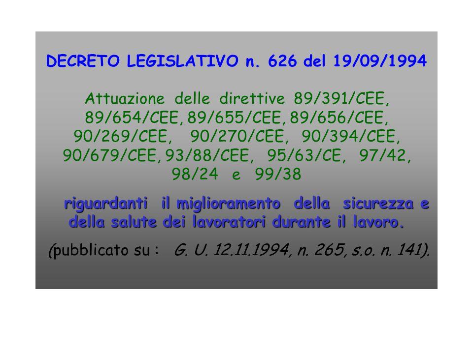 DECRETO LEGISLATIVO n. 626 del 19/09/1994 Attuazione delle direttive 89/391/CEE, 89/654/CEE, 89/655/CEE, 89/656/CEE, 90/269/CEE, 90/270/CEE, 90/394/CE