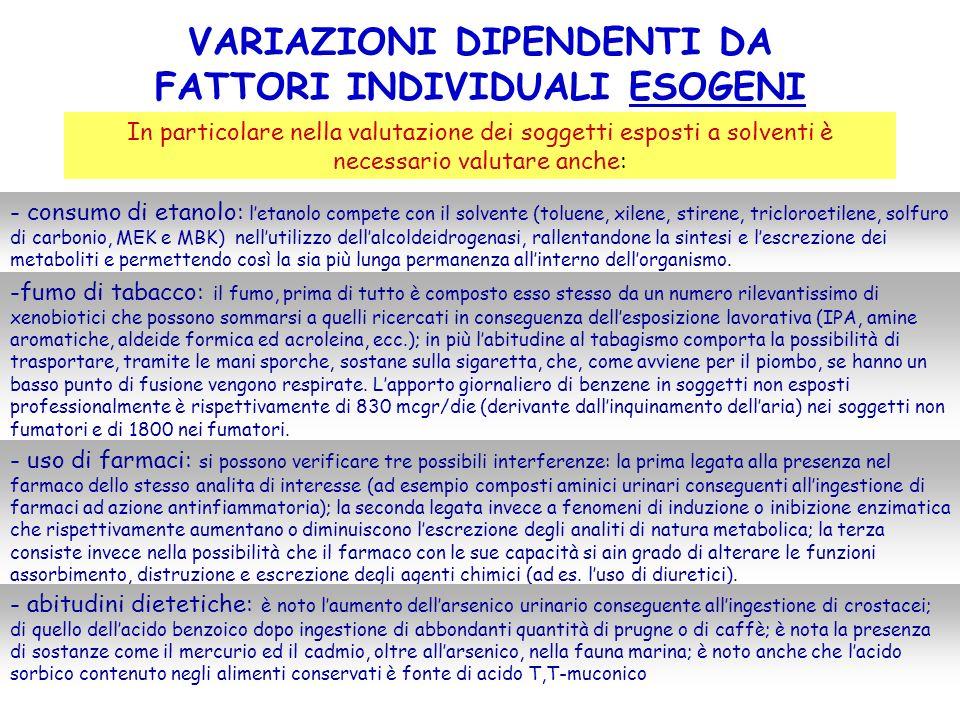 VARIAZIONI DIPENDENTI DA FATTORI INDIVIDUALI ESOGENI In particolare nella valutazione dei soggetti esposti a solventi è necessario valutare anche: - c