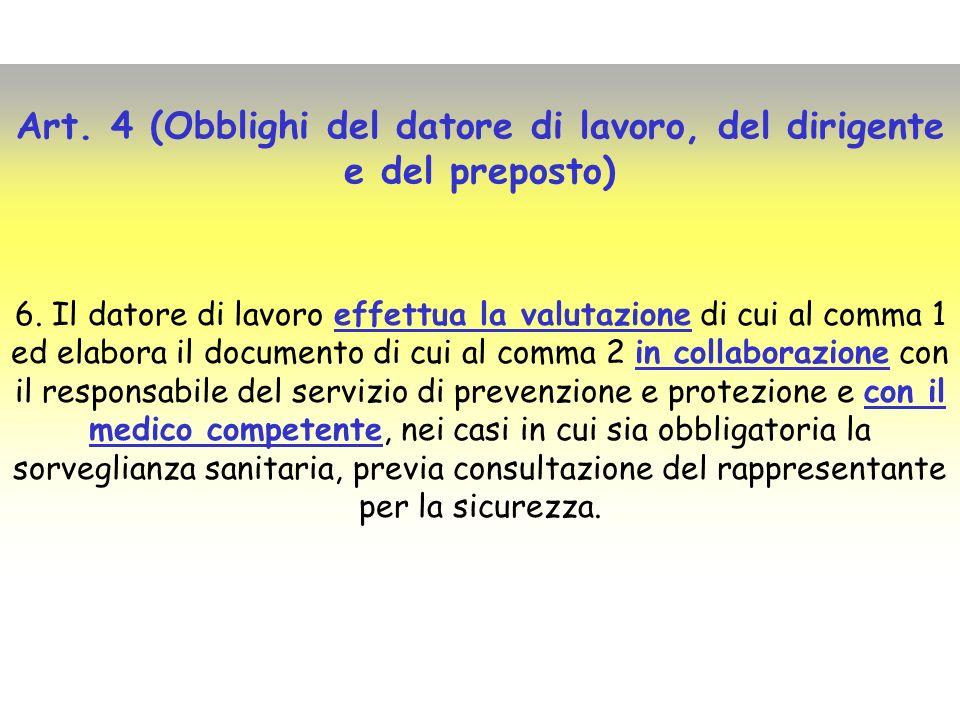 Art. 4 (Obblighi del datore di lavoro, del dirigente e del preposto) 6. Il datore di lavoro effettua la valutazione di cui al comma 1 ed elabora il do