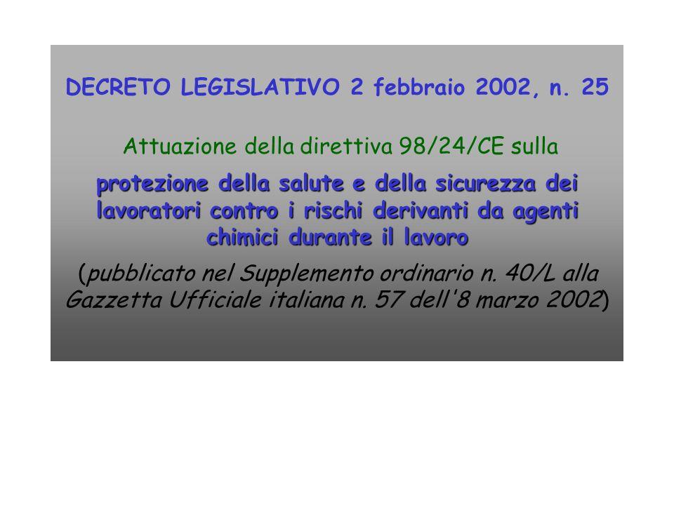 DECRETO LEGISLATIVO 2 febbraio 2002, n. 25 Attuazione della direttiva 98/24/CE sulla protezione della salute e della sicurezza dei lavoratori contro i