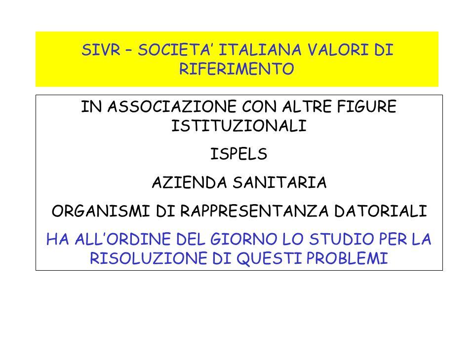 SIVR – SOCIETA ITALIANA VALORI DI RIFERIMENTO IN ASSOCIAZIONE CON ALTRE FIGURE ISTITUZIONALI ISPELS AZIENDA SANITARIA ORGANISMI DI RAPPRESENTANZA DATO