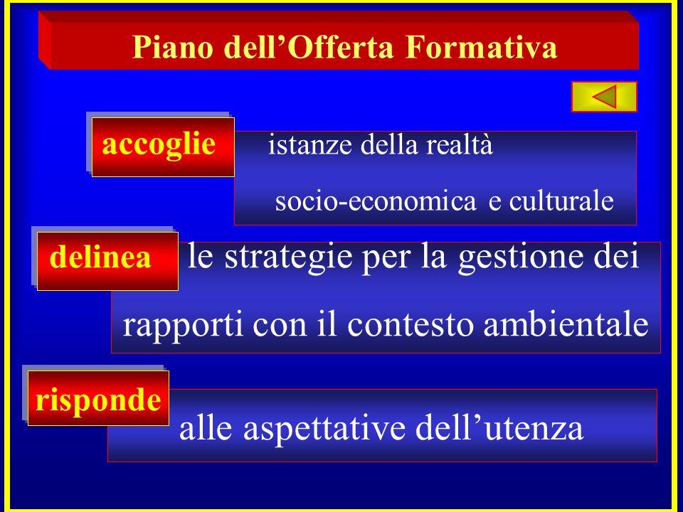 Piano dellOfferta Formativa accoglie istanze della realtà socio-economica e culturale delinea le strategie per la gestione dei rapporti con il contest