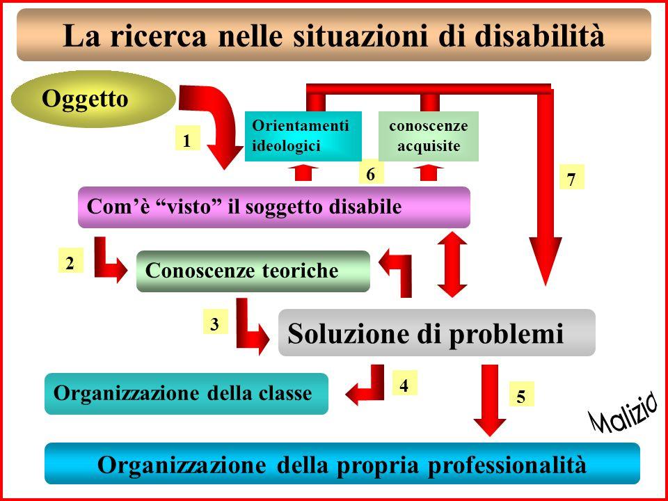 La ricerca nelle situazioni di disabilità Oggetto Comè visto il soggetto disabile Organizzazione della propria professionalità 1 Conoscenze teoriche 2 Soluzione di problemi 3 Organizzazione della classe 4 5 6 conoscenze acquisite Orientamenti ideologici 7
