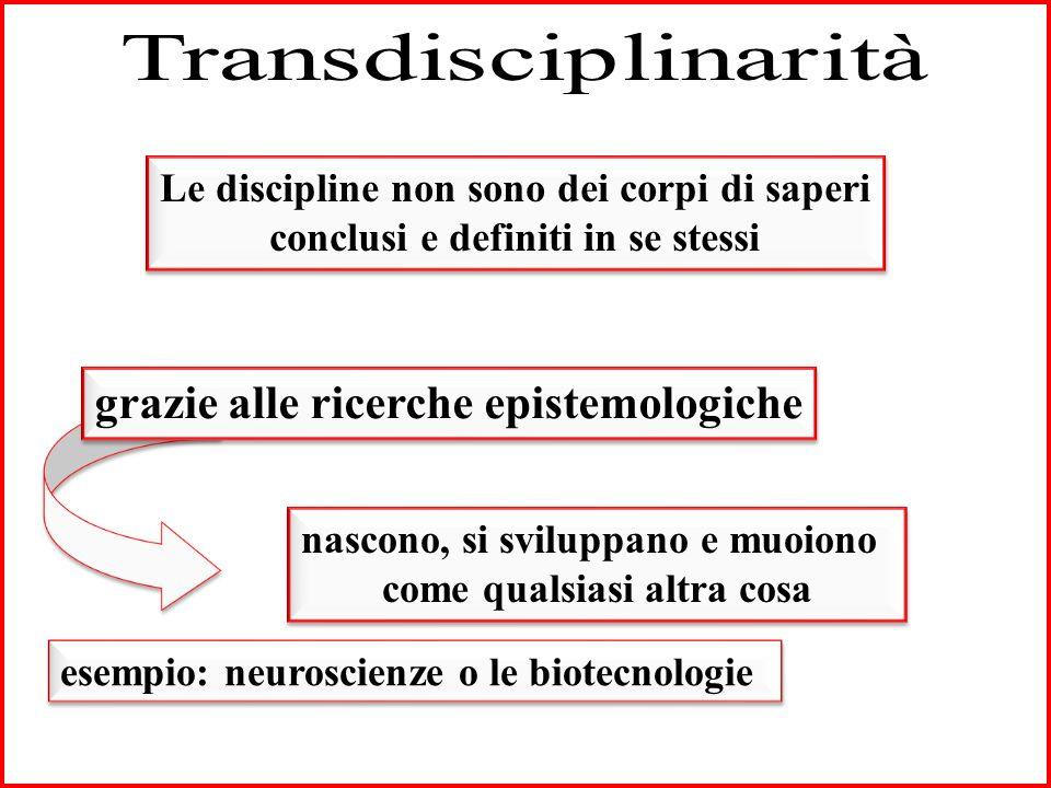 Le discipline non sono dei corpi di saperi conclusi e definiti in se stessi Le discipline non sono dei corpi di saperi conclusi e definiti in se stessi nascono, si sviluppano e muoiono come qualsiasi altra cosa nascono, si sviluppano e muoiono come qualsiasi altra cosa grazie alle ricerche epistemologiche esempio: neuroscienze o le biotecnologie