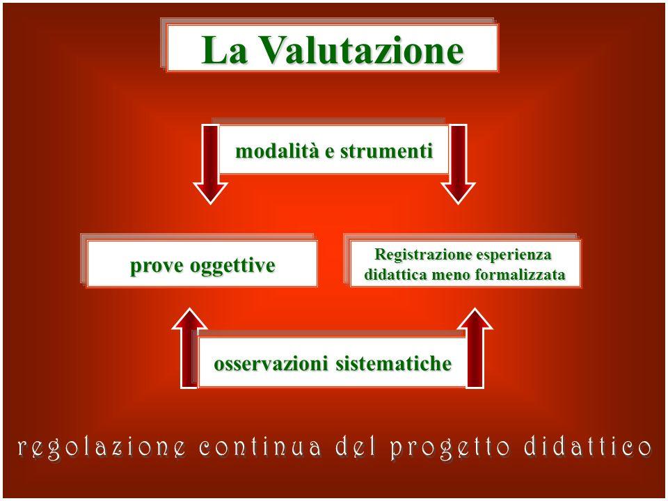 modalità e strumenti La Valutazione osservazioni sistematiche prove oggettive Registrazione esperienza didattica meno formalizzata
