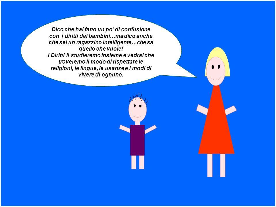 Dico che hai fatto un po di confusione con i diritti dei bambini…ma dico anche che sei un ragazzino intelligente…che sa quello che vuole! I Diritti li