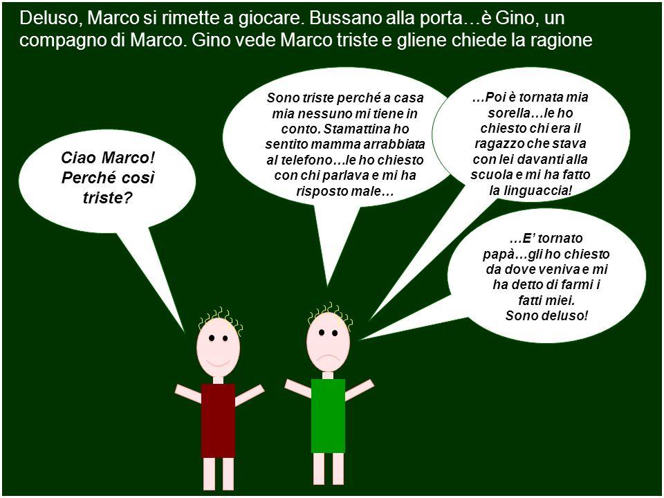 Deluso, Marco si rimette a giocare. Bussano alla porta…è Gino, un compagno di Marco. Gino vede Marco triste e gliene chiede la ragione Ciao Marco! Per
