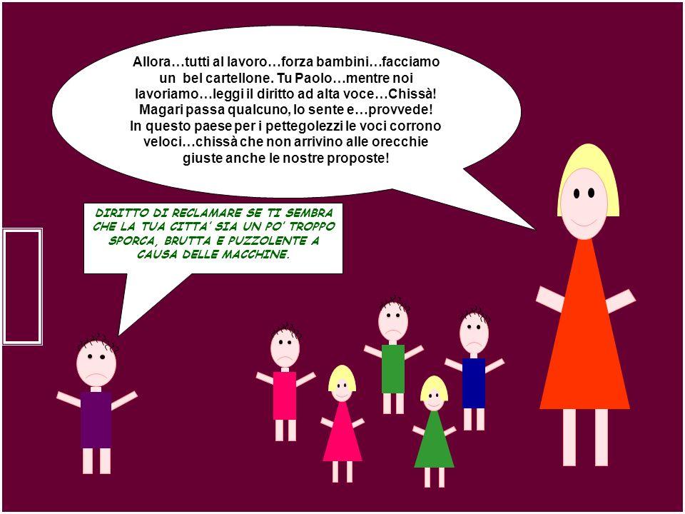Allora…tutti al lavoro…forza bambini…facciamo un bel cartellone. Tu Paolo…mentre noi lavoriamo…leggi il diritto ad alta voce…Chissà! Magari passa qual