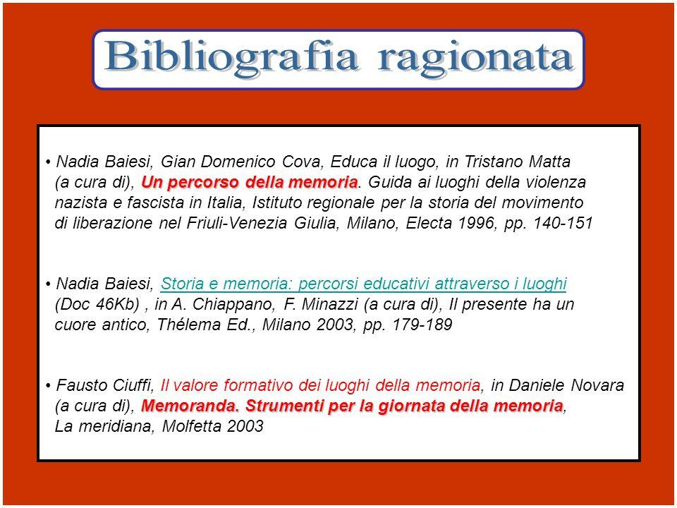 Nadia Baiesi, Gian Domenico Cova, Educa il luogo, in Tristano Matta Un percorso della memoria (a cura di), Un percorso della memoria. Guida ai luoghi