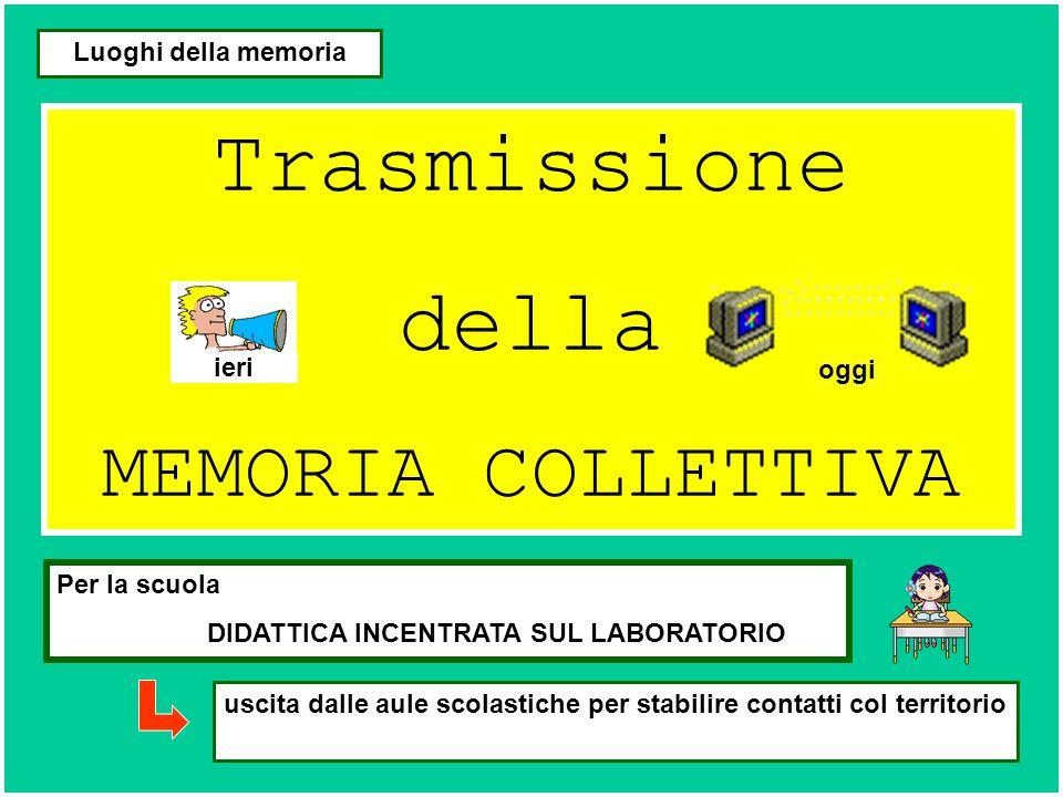 Trasmissione della MEMORIA COLLETTIVA Luoghi della memoria Per la scuola DIDATTICA INCENTRATA SUL LABORATORIO uscita dalle aule scolastiche per stabil