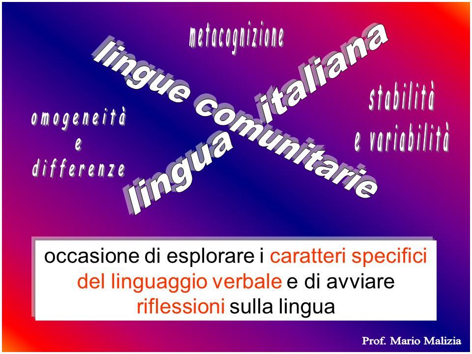 occasione di esplorare i caratteri specifici del linguaggio verbale e di avviare riflessioni sulla lingua