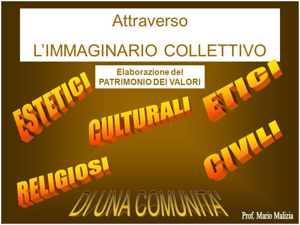 Attraverso LIMMAGINARIO COLLETTIVO Elaborazione del PATRIMONIO DEI VALORI