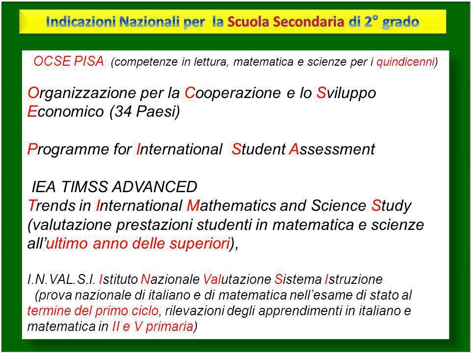OCSE PISA (competenze in lettura, matematica e scienze per i quindicenni) Organizzazione per la Cooperazione e lo Sviluppo Economico (34 Paesi) Progra