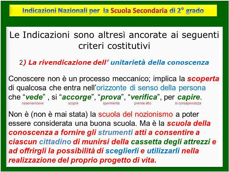 Le Indicazioni sono altres ì ancorate ai seguenti criteri costitutivi 2 ) La rivendicazione dell unitarietà della conoscenza Conoscere non è un proces