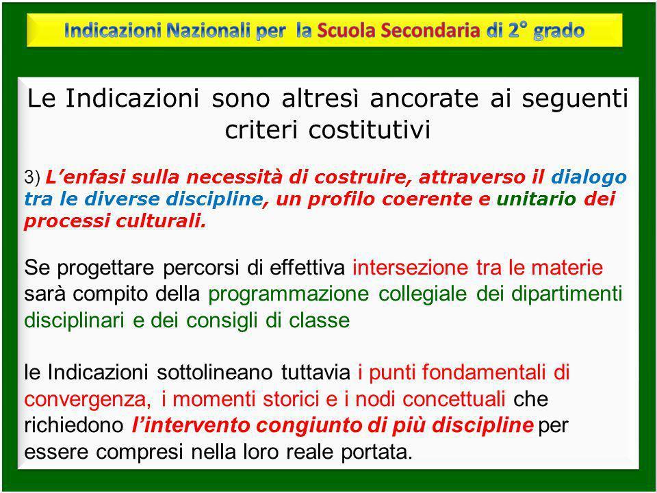 Le Indicazioni sono altres ì ancorate ai seguenti criteri costitutivi 3) Lenfasi sulla necessità di costruire, attraverso il dialogo tra le diverse di