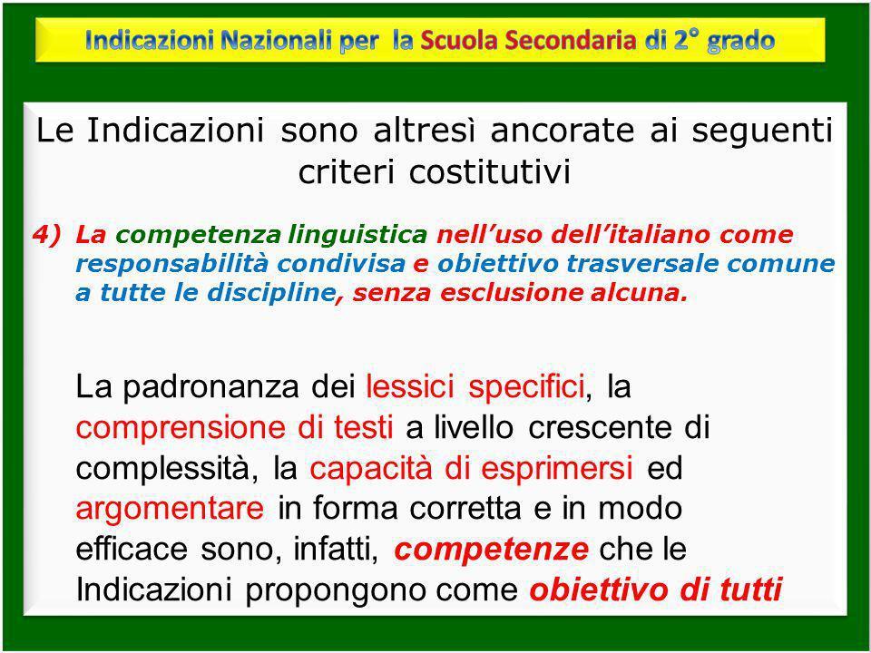 Le Indicazioni sono altres ì ancorate ai seguenti criteri costitutivi 4)La competenza linguistica nelluso dellitaliano come responsabilità condivisa e