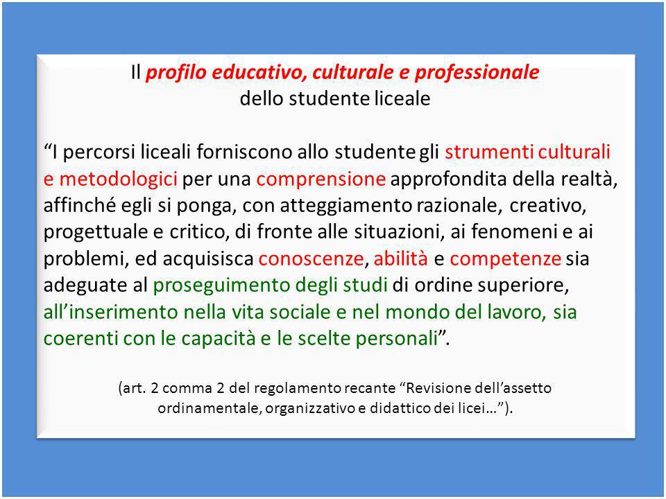 Il profilo educativo, culturale e professionale dello studente liceale I percorsi liceali forniscono allo studente gli strumenti culturali e metodolog