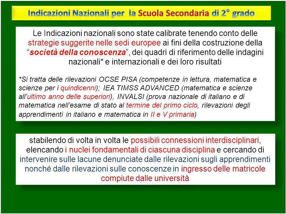 Le Indicazioni nazionali sono state calibrate tenendo conto delle strategie suggerite nelle sedi europee ai fini della costruzione dellasocietà della