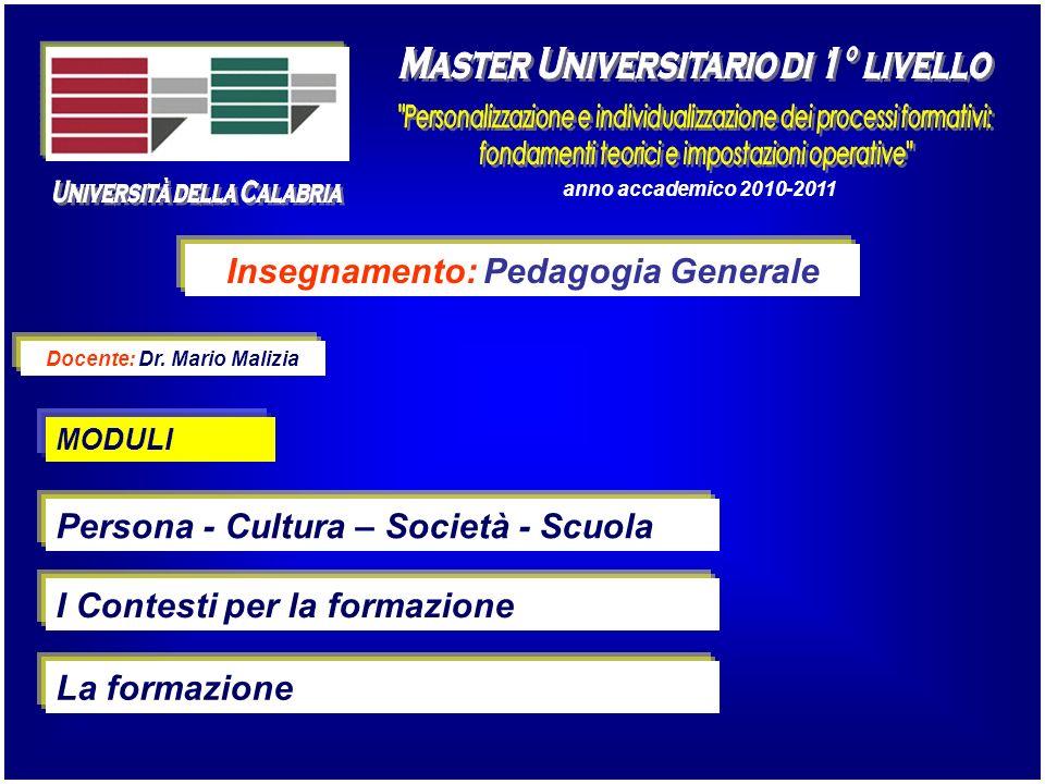 anno accademico 2010-2011 Insegnamento: Pedagogia Generale Docente: Dr. Mario Malizia Persona - Cultura – Società - Scuola I Contesti per la formazion
