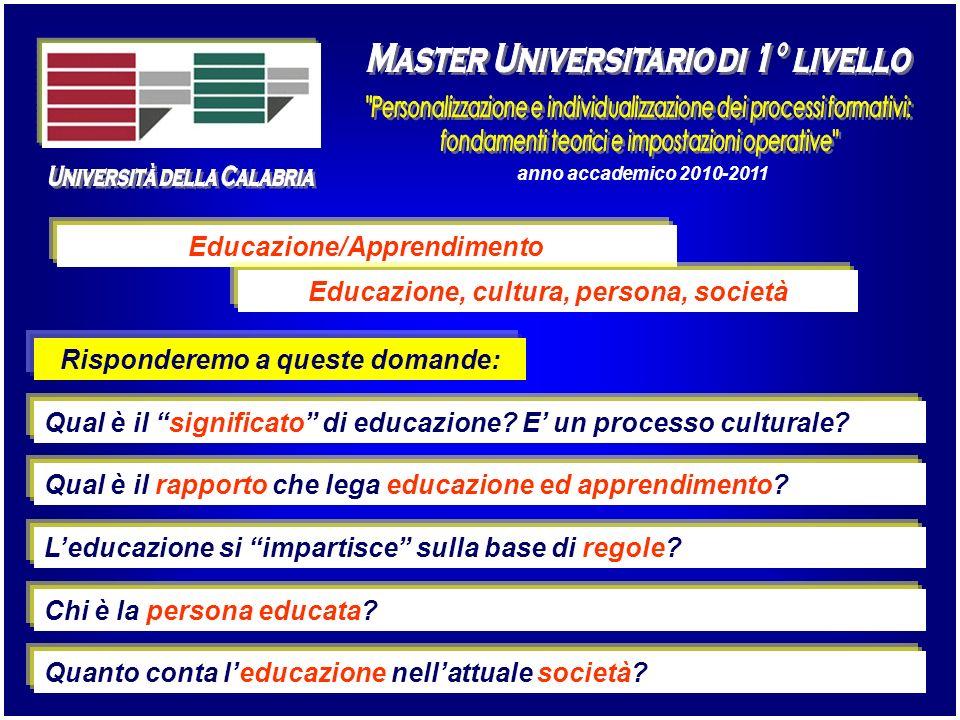 anno accademico 2010-2011 Educazione/Apprendimento Qual è il rapporto che lega educazione ed apprendimento? Leducazione si impartisce sulla base di re