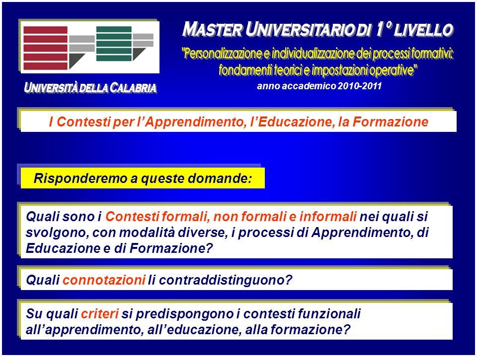 anno accademico 2010-2011 I Contesti per lApprendimento, lEducazione, la Formazione Quali sono i Contesti formali, non formali e informali nei quali s