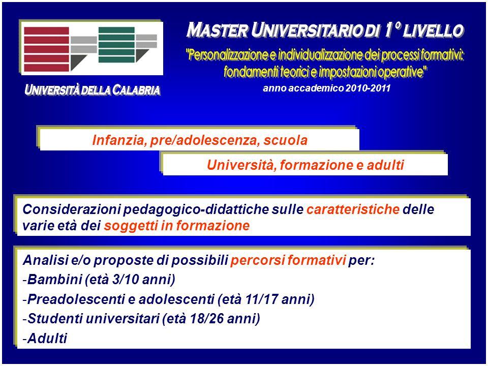 anno accademico 2010-2011 Infanzia, pre/adolescenza, scuola Università, formazione e adulti Considerazioni pedagogico-didattiche sulle caratteristiche