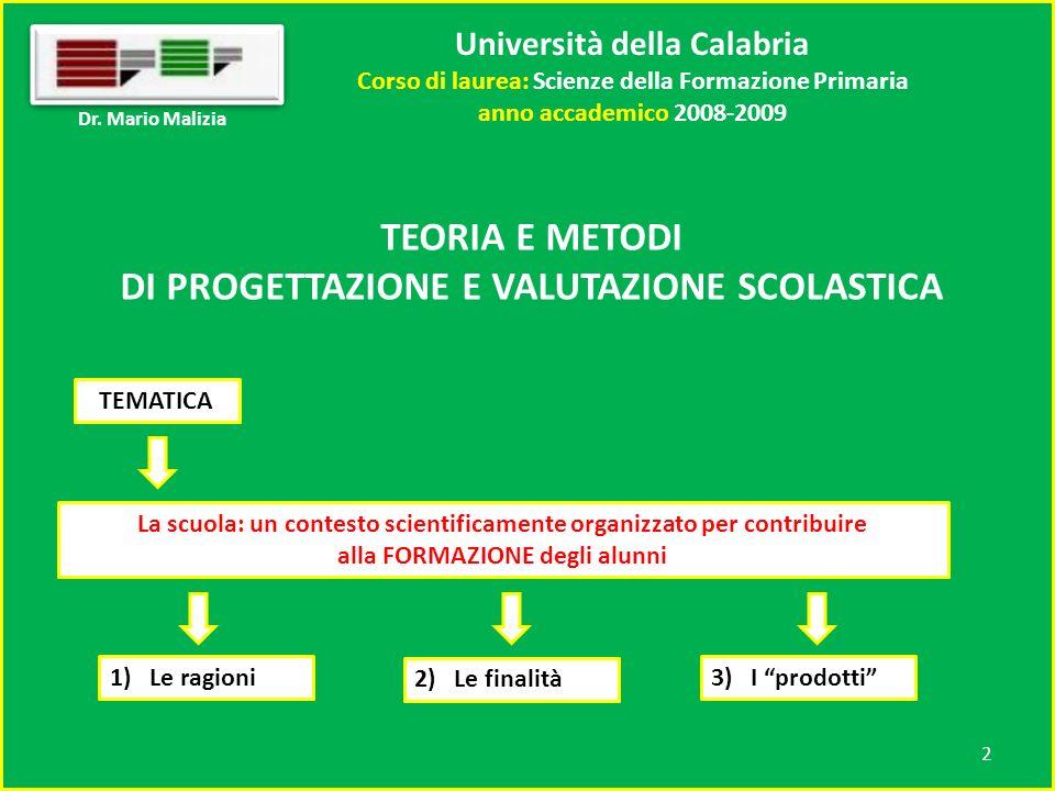 Università della Calabria Corso di laurea: Scienze della Formazione Primaria anno accademico 2008-2009 1 Dr.