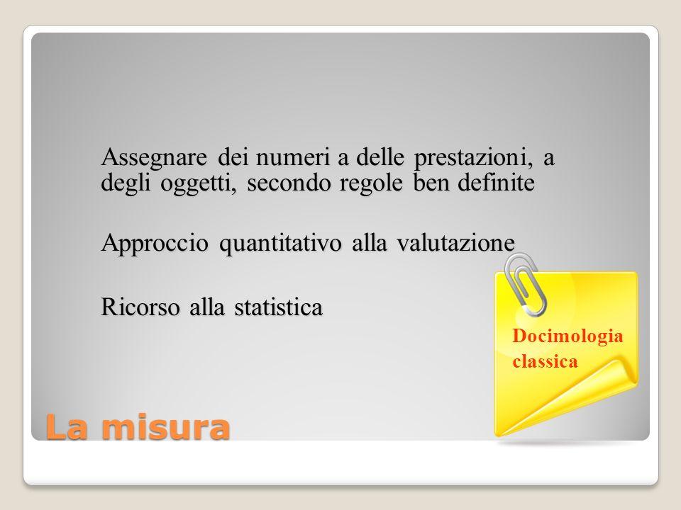 La misura Approccio quantitativo alla valutazione Ricorso alla statistica Assegnare dei numeri a delle prestazioni, a degli oggetti, secondo regole be