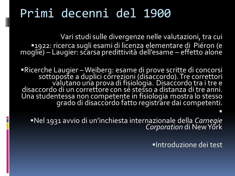 Primi decenni del 1900 Vari studi sulle divergenze nelle valutazioni, tra cui 1922: ricerca sugli esami di licenza elementare di Piéron (e moglie) – L