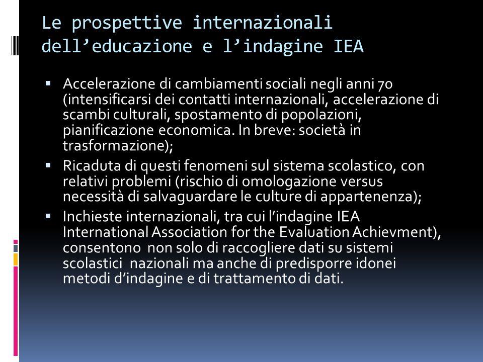 Le prospettive internazionali delleducazione e lindagine IEA Accelerazione di cambiamenti sociali negli anni 70 (intensificarsi dei contatti internazi