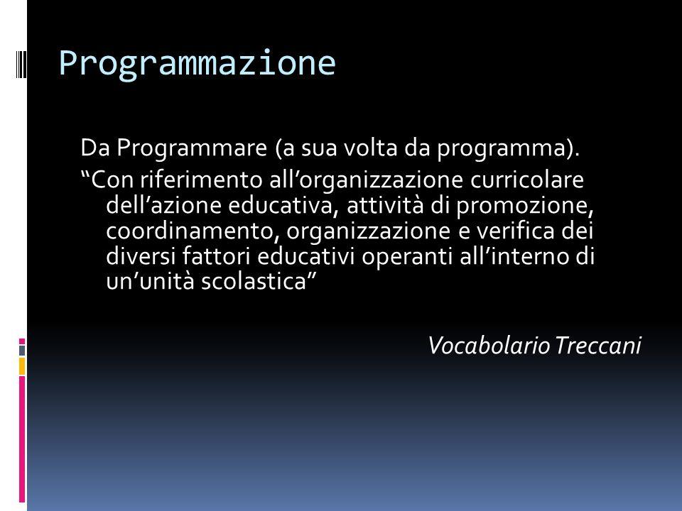 Programmazione Da Programmare (a sua volta da programma). Con riferimento allorganizzazione curricolare dellazione educativa, attività di promozione,
