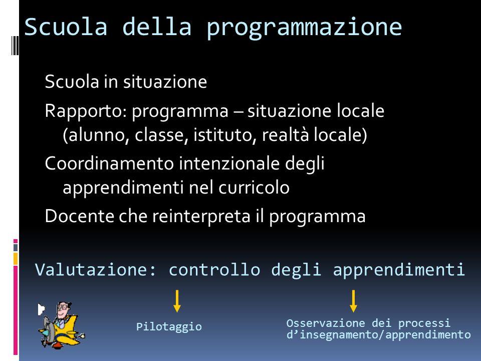 Scuola della programmazione Scuola in situazione Rapporto: programma – situazione locale (alunno, classe, istituto, realtà locale) Coordinamento inten