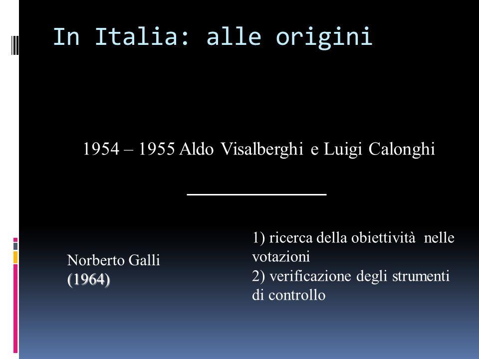 In Italia: alle origini Norberto Galli(1964) 1) ricerca della obiettività nelle votazioni 2) verificazione degli strumenti di controllo 1954 – 1955 Al