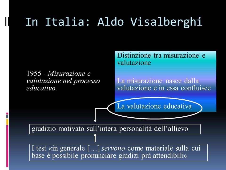 In Italia: Aldo Visalberghi 1955 - Misurazione e valutazione nel processo educativo. Distinzione tra misurazione e valutazione La misurazione nasce da