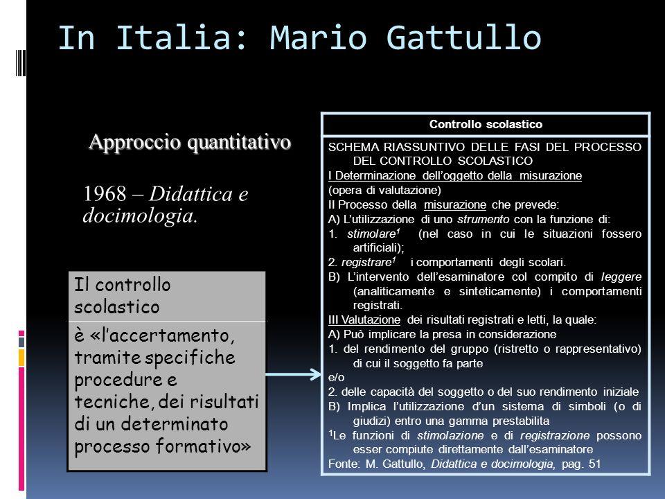 In Italia: Mario Gattullo Il controllo scolastico è «laccertamento, tramite specifiche procedure e tecniche, dei risultati di un determinato processo