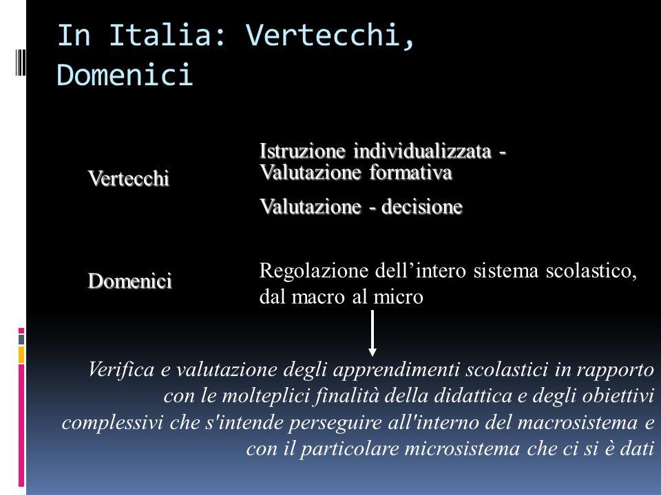 In Italia: Vertecchi, Domenici Vertecchi Istruzione individualizzata - Valutazione formativa Valutazione - decisione Domenici Regolazione dellintero s