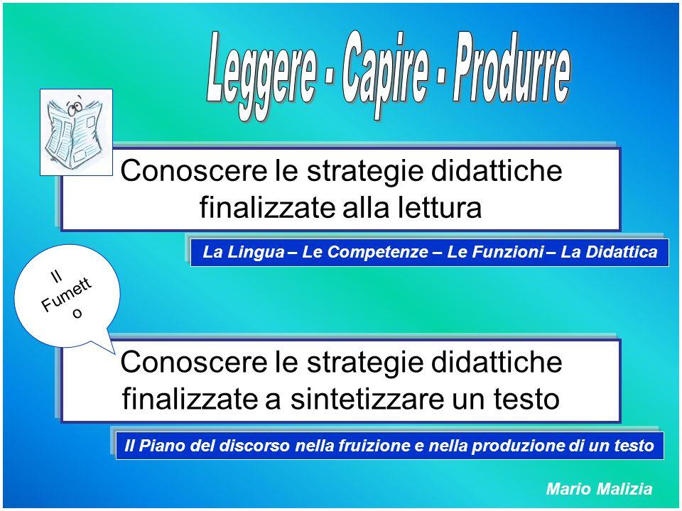 Conoscere le strategie didattiche finalizzate alla lettura Conoscere le strategie didattiche finalizzate a sintetizzare un testo La Lingua – Le Compet