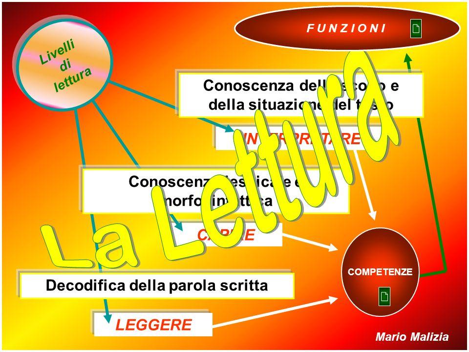 DECIFRAZIONE COMPRENSIONE TESTUALE TIPI di lettura Tradurre segni grafici in fonemi Capire i significati oggettivi Interpretare scopi e funzioni Mario Malizia