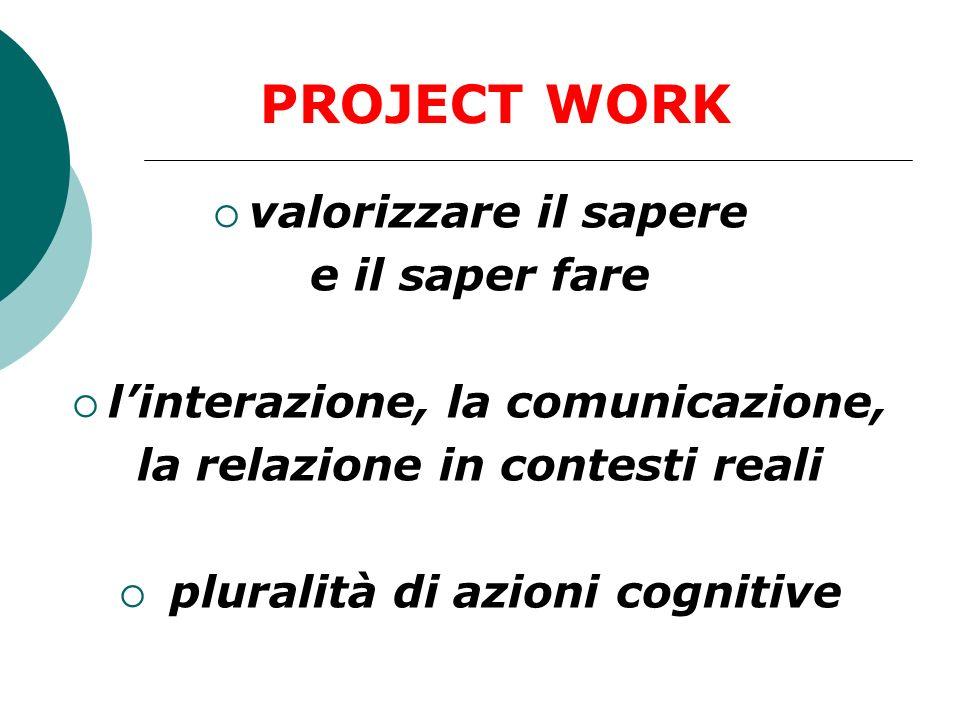 valorizzare il sapere e il saper fare linterazione, la comunicazione, la relazione in contesti reali pluralità di azioni cognitive PROJECT WORK