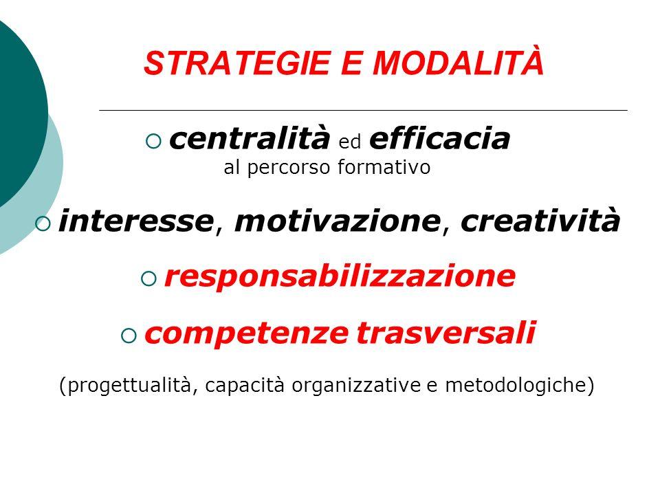 STRATEGIE E MODALITÀ centralità ed efficacia al percorso formativo interesse, motivazione, creatività responsabilizzazione competenze trasversali (pro