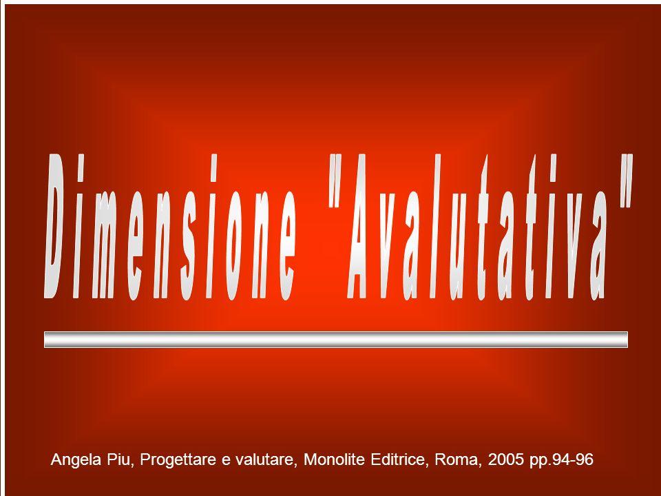 Angela Piu, Progettare e valutare, Monolite Editrice, Roma, 2005 pp.94-96