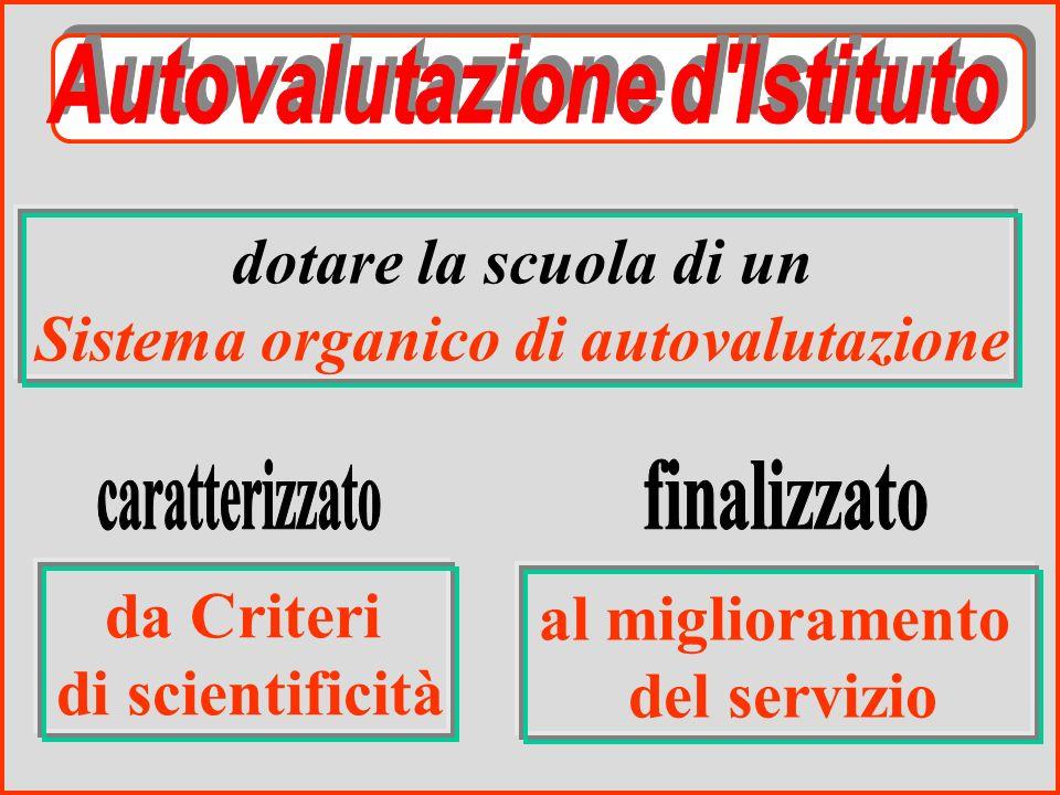 dotare la scuola di un Sistema organico di autovalutazione da Criteri di scientificità al miglioramento del servizio
